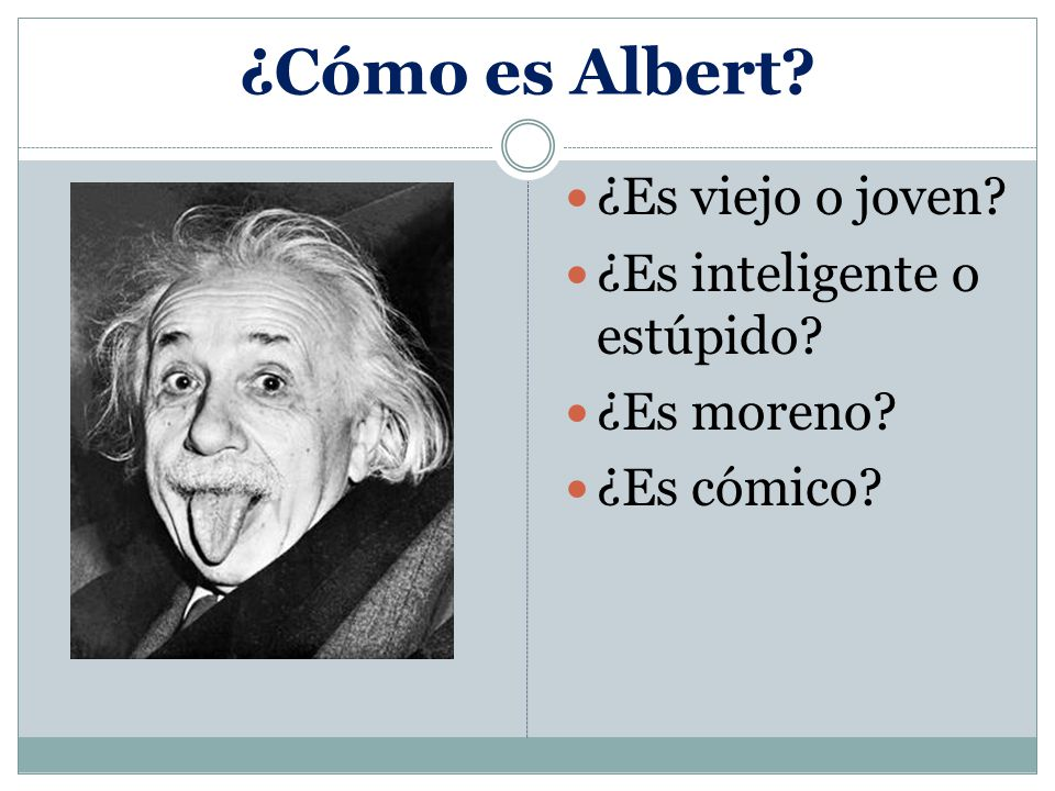 ¿Cómo es Albert ¿Es viejo o joven ¿Es inteligente o estúpido ¿Es moreno ¿Es cómico