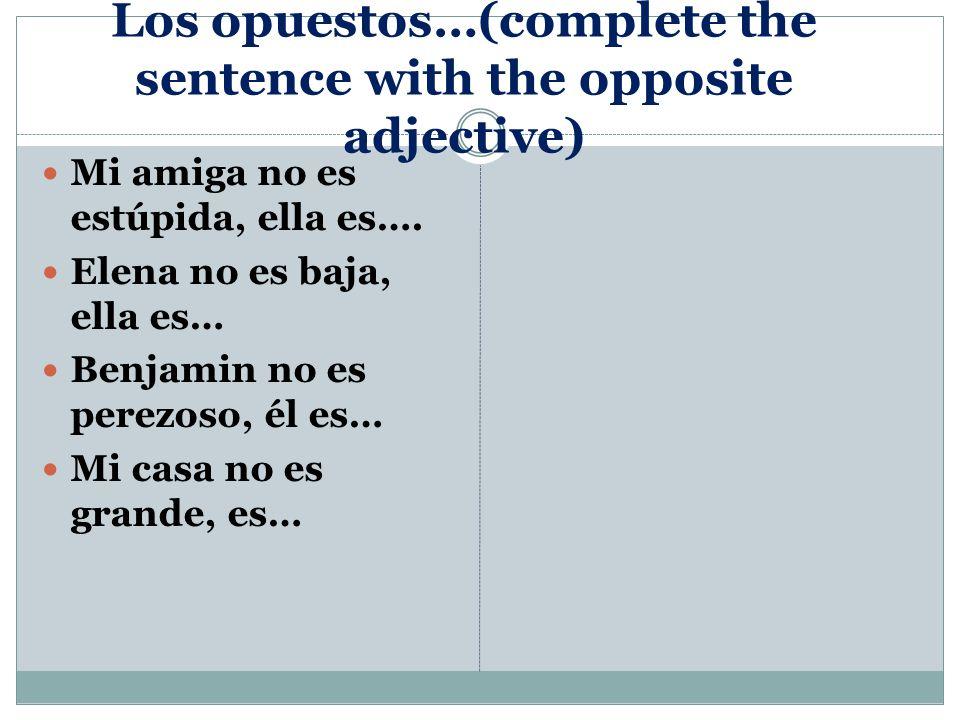 Pick one to describe Describe a una de las personas en español.