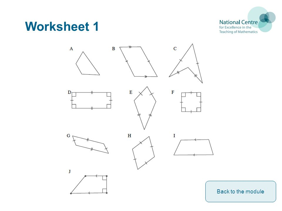 Worksheet 1 Back to the module