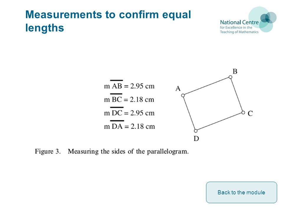 Measurements to confirm equal lengths Back to the module
