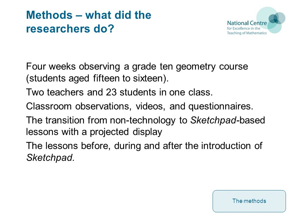 Methods – what did the researchers do.
