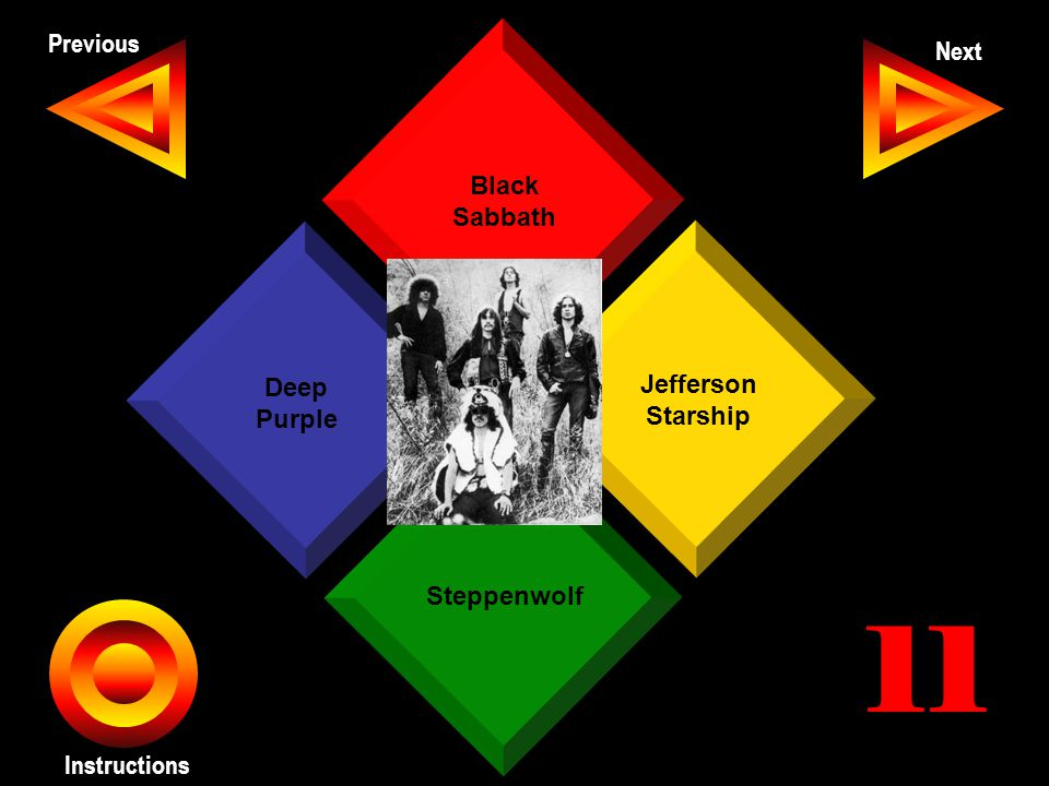 John Seth Previous Next Instructions Black Sabbath Jefferson Starship Steppenwolf Deep Purple 11