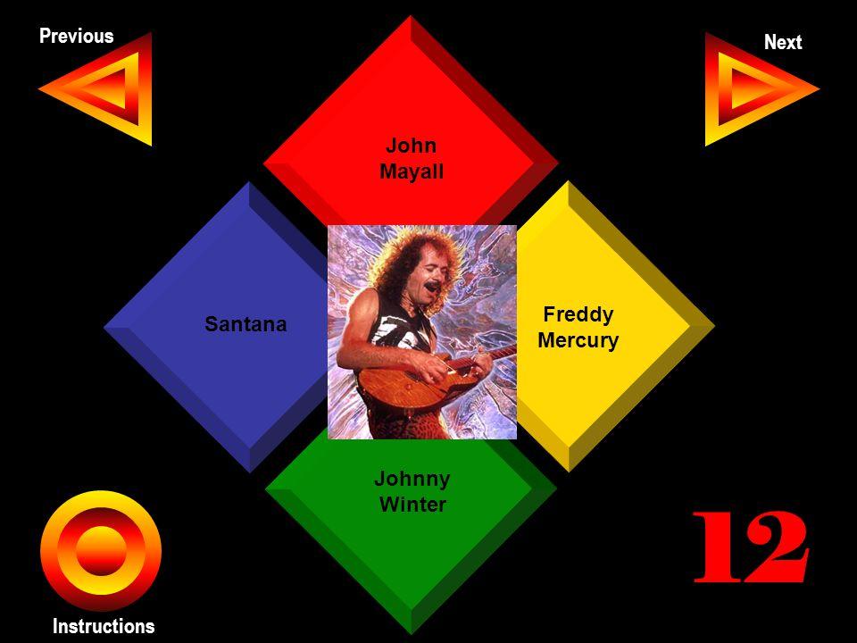 John Seth Previous Next Instructions Freddy Mercury Johnny Winter Santana John Mayall 12