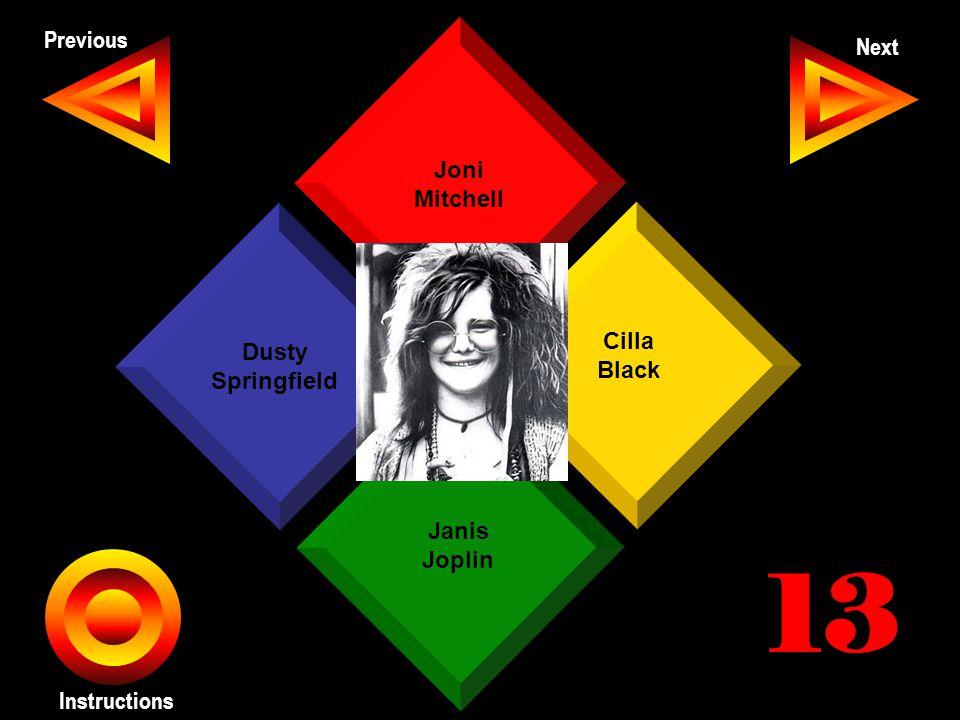 John Seth Previous Next Instructions Joni Mitchell Cilla Black Janis Joplin Dusty Springfield 13
