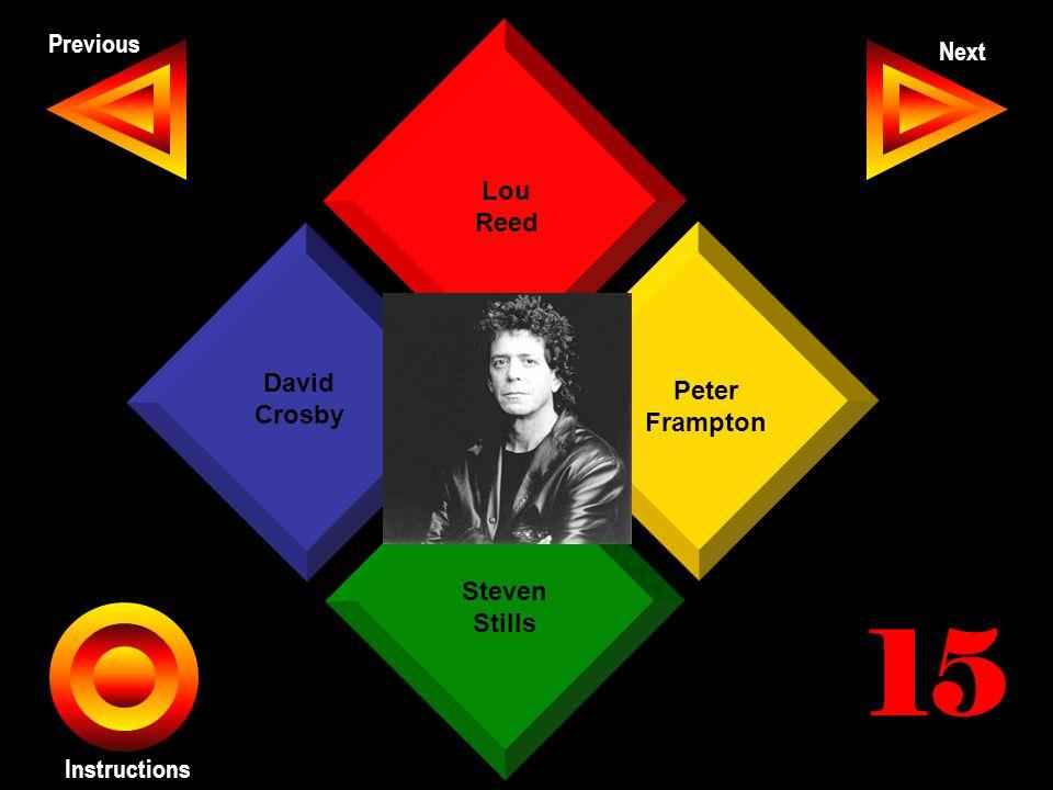 John Seth Previous Next Instructions Lou Reed Peter Frampton Steven Stills David Crosby 15