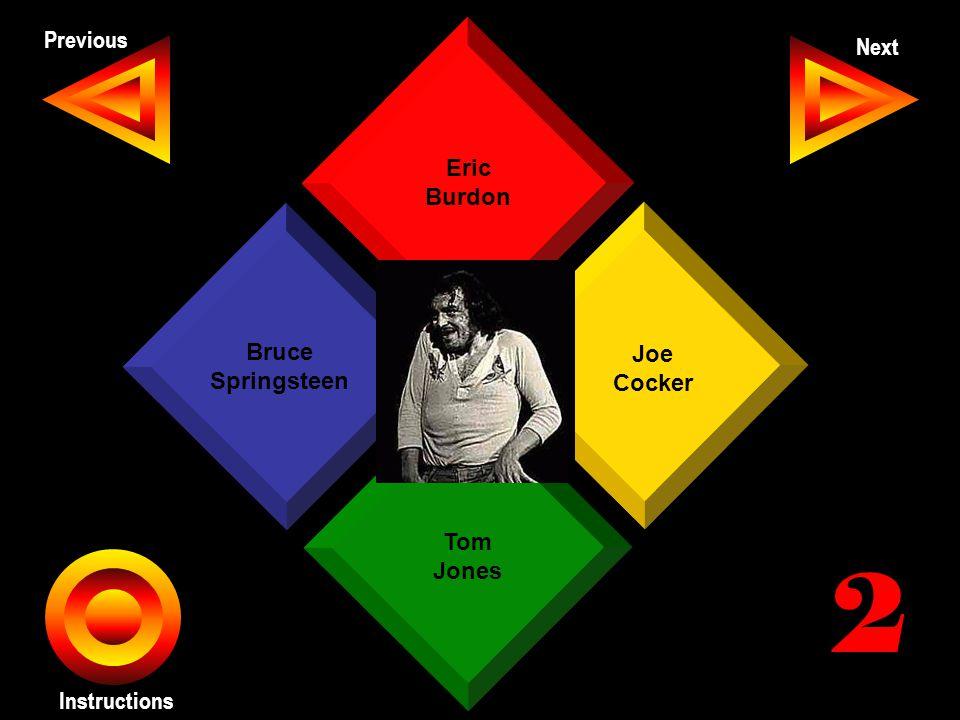 John Seth Previous Next Instructions Eric Burdon Joe Cocker Tom Jones Bruce Springsteen 2