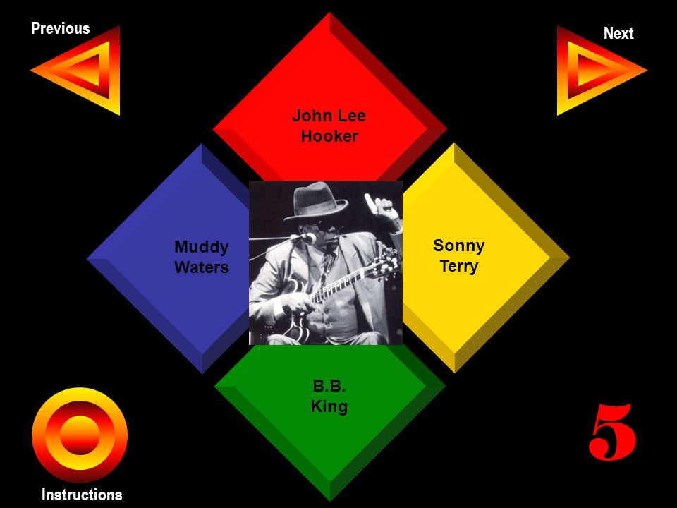 John Seth Previous Next Instructions John Lee Hooker Sonny Terry B.B. King Muddy Waters 5