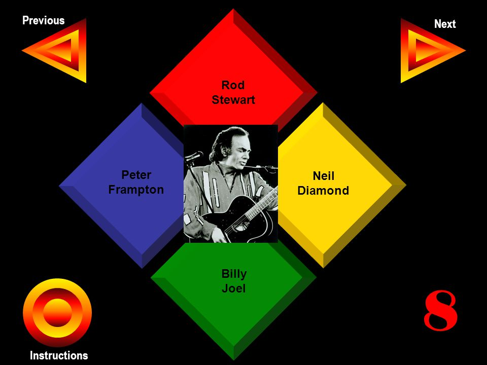 John Seth Previous Next Instructions Rod Stewart Neil Diamond Billy Joel Peter Frampton 8