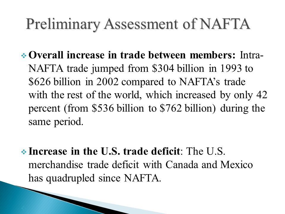  Overall increase in trade between members: Intra- NAFTA trade jumped from $304 billion in 1993 to $626 billion in 2002 compared to NAFTA's trade wit