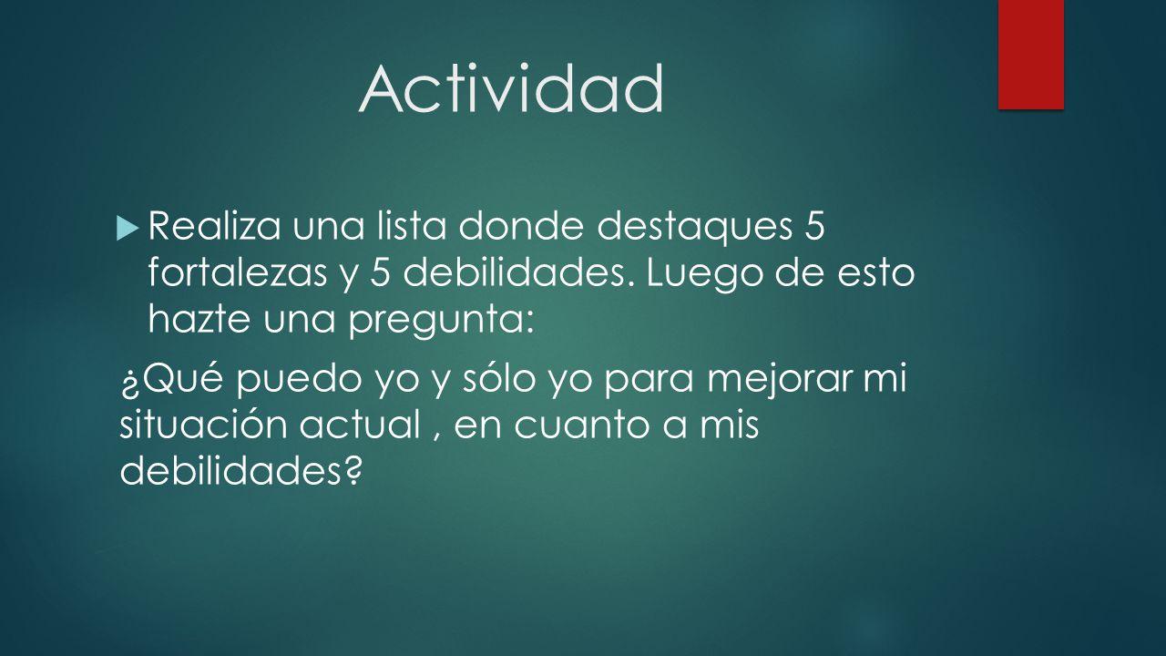 Actividad  Realiza una lista donde destaques 5 fortalezas y 5 debilidades.