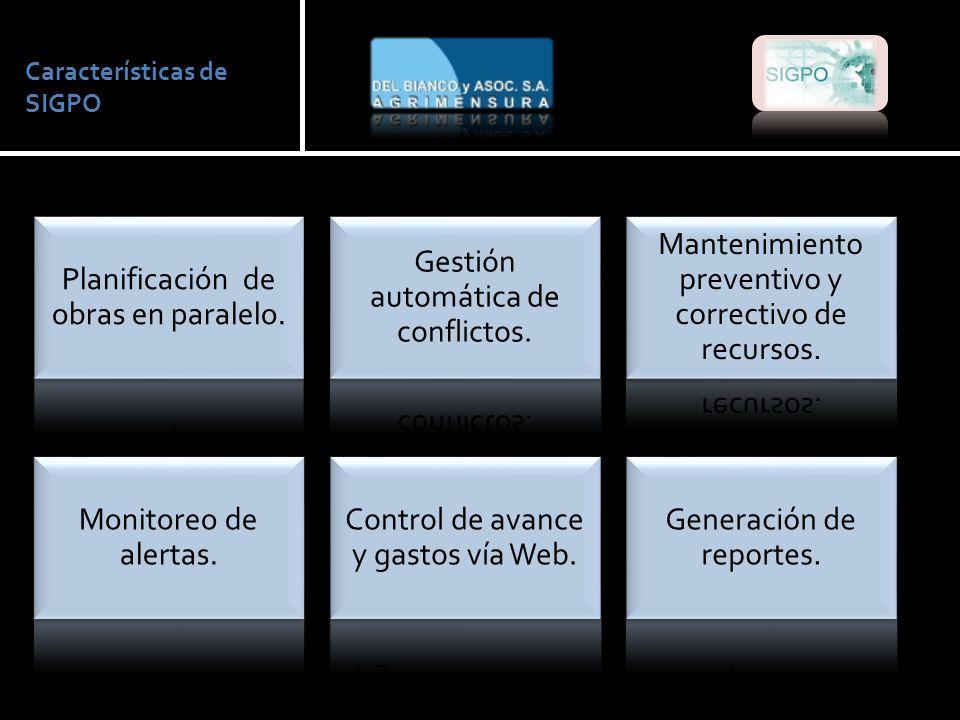 Características de SIGPO Planificación de obras en paralelo.