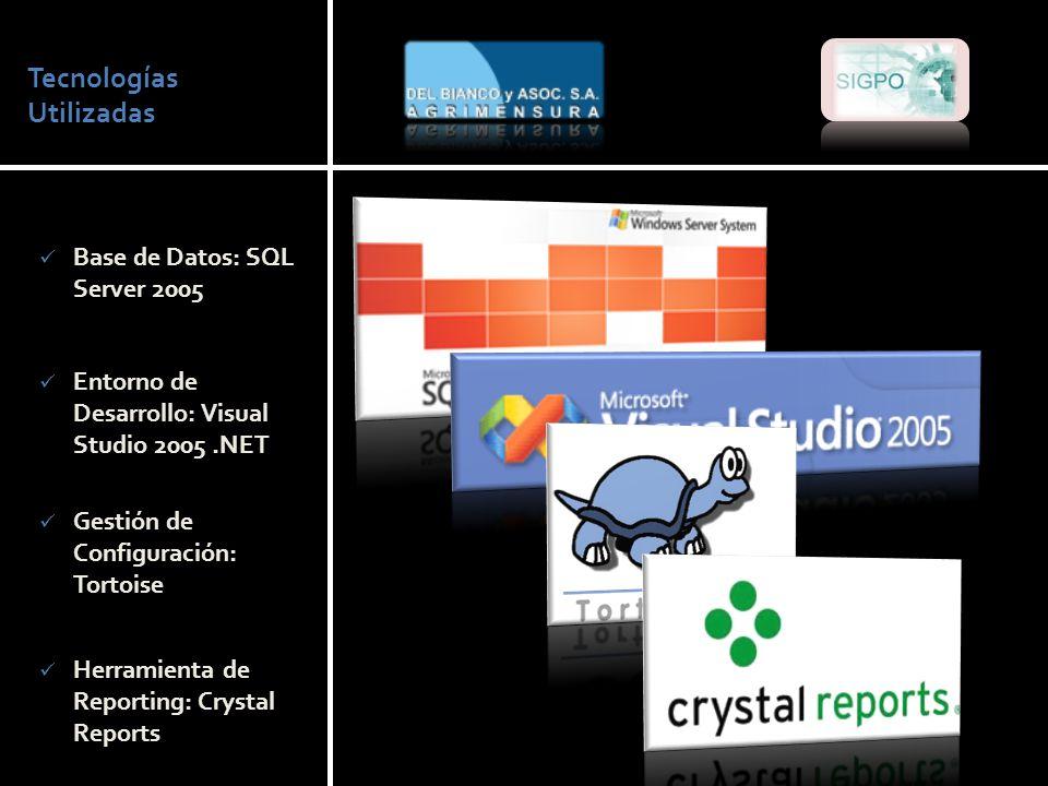 Tecnologías Utilizadas Base de Datos: SQL Server 2005 Entorno de Desarrollo: Visual Studio 2005.NET Gestión de Configuración: Tortoise Herramienta de Reporting: Crystal Reports