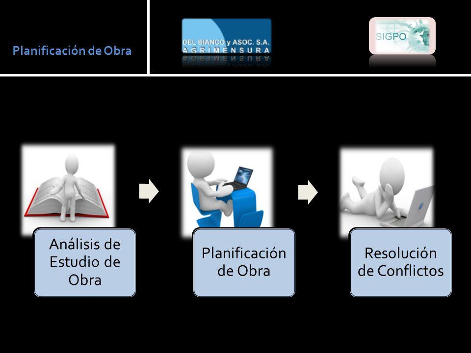 Planificación de Obra Análisis de Estudio de Obra Planificación de Obra Resolución de Conflictos