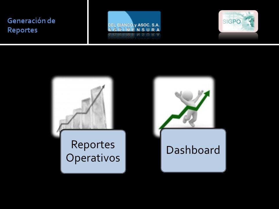 Generación de Reportes Reportes Operativos Dashboard
