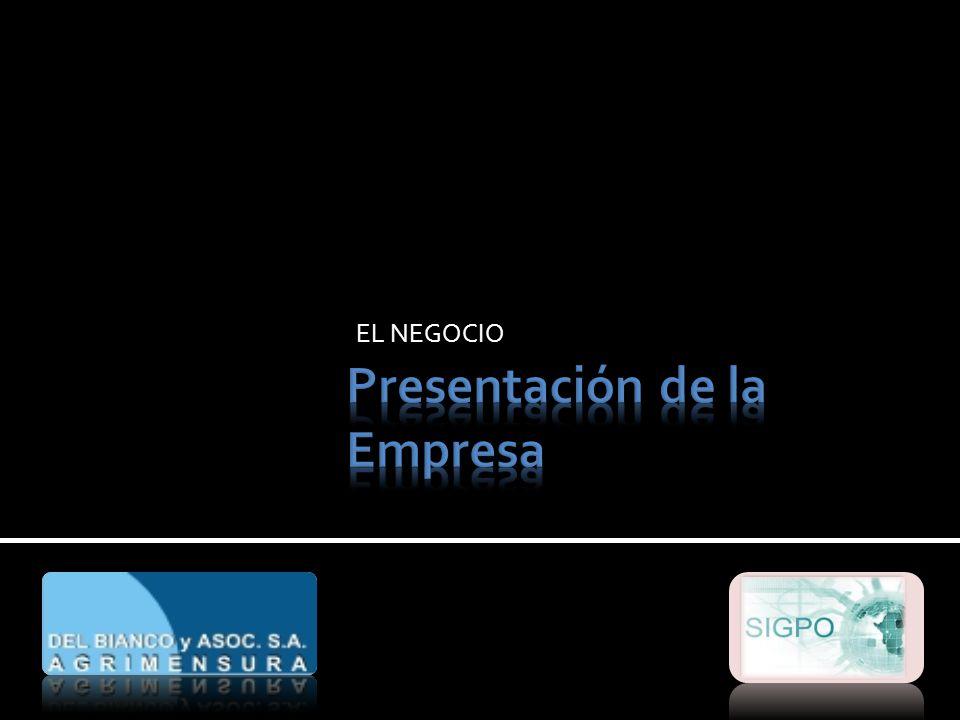 Presentación de la Empresa OBJETIVO Realizar obras de topografía, geodesia, micro geodesia, fotogrametría, cartografía, batimetría y mensuras.