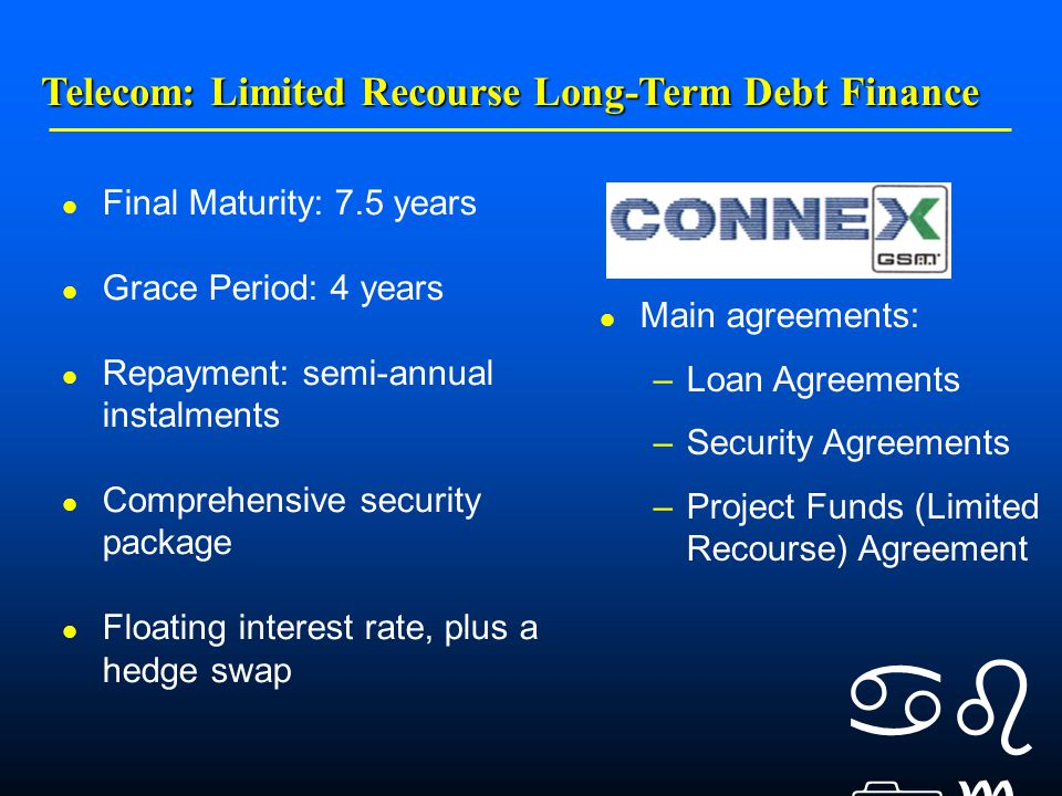    Final Maturity: 7.5 years Grace Period: 4 years Repayment: semi-annual instalments Comprehensive security package Floating interest rate, plus a hedge swap Main agreements: –Loan Agreements –Security Agreements –Project Funds (Limited Recourse) Agreement Telecom: Limited Recourse Long-Term Debt Finance