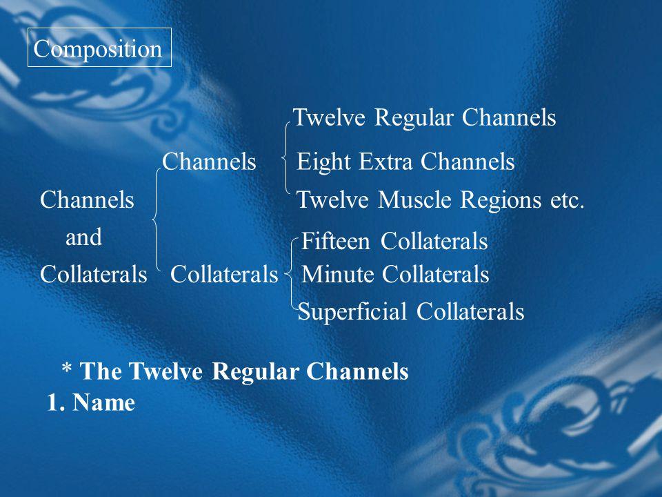 Channels Twelve Muscle Regions etc.