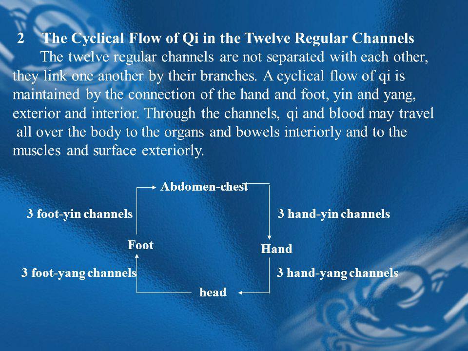 2 )分布规律: 阳经位于四肢外侧, 阳明在前,少阳在中, 太阳在后。 阴经位于四肢内侧,太阴在前,厥阴在中, 少阴在后。 3 )表里络属关系 4 )流注次序 三、奇经八脉 (Eight Extra Channels) 督、任、冲一源三歧