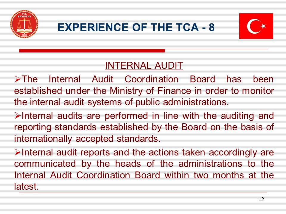 EXPERIENCE OF THE TCA - 8 INTERNAL AUDIT  The Internal Audit Coordination Board has been established under the Ministry of Finance in order to monito