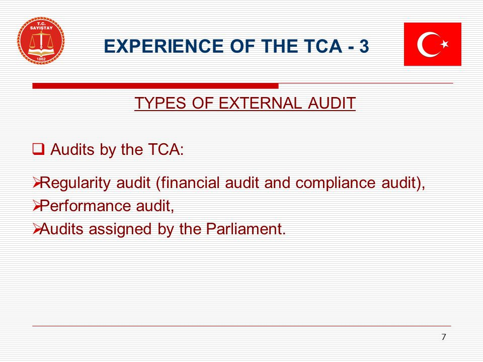 EXPERIENCE OF THE TCA - 3 TYPES OF EXTERNAL AUDIT  Audits by the TCA:  Regularity audit (financial audit and compliance audit),  Performance audit,