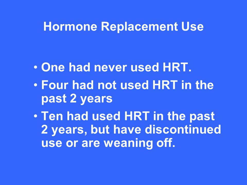 Hormone Replacement Use One had never used HRT.