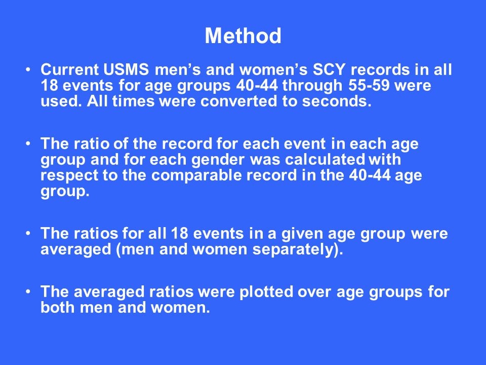 Method Current USMS men's and women's SCY records in all 18 events for age groups 40-44 through 55-59 were used.