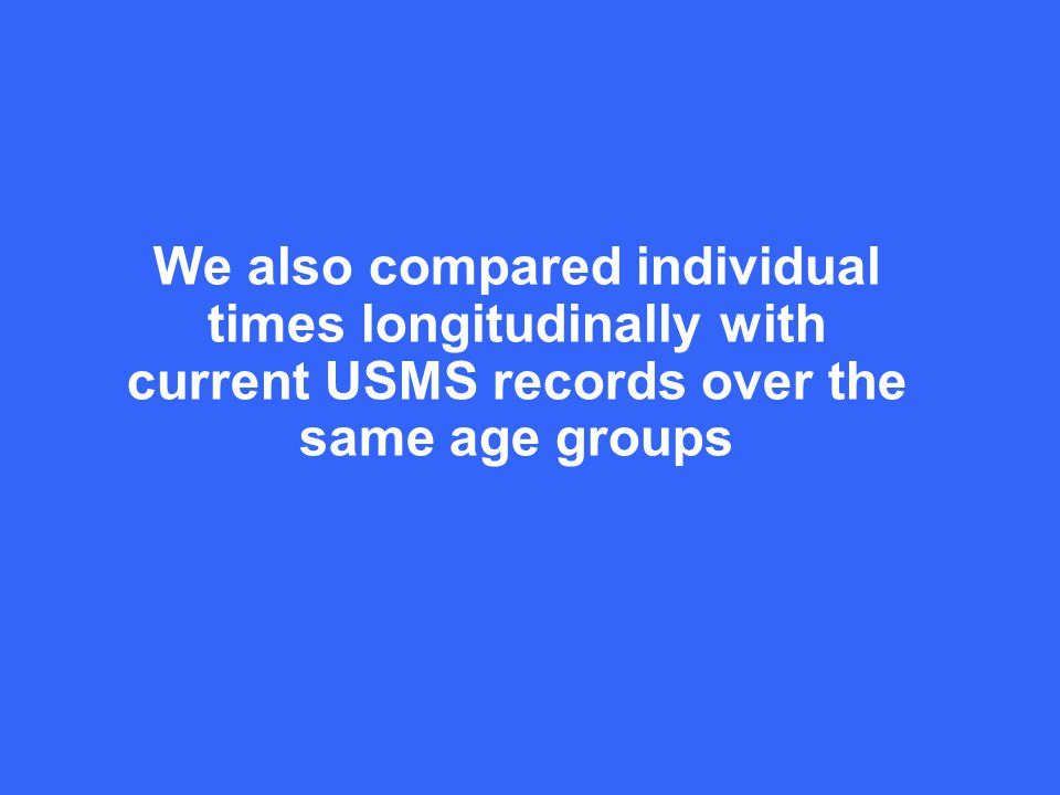 We also compared individual times longitudinally with current USMS records over the same age groups