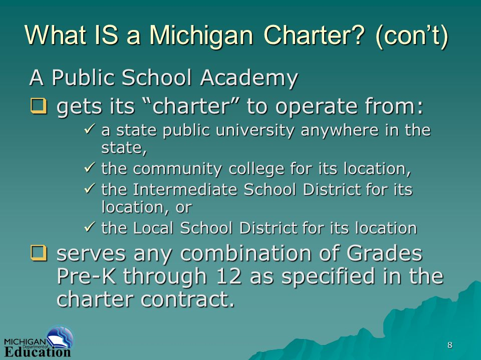 19 Consulting help is available The National Charter School Institute (NCSI) is located here in Michigan, and provides customized consulting to development teams.