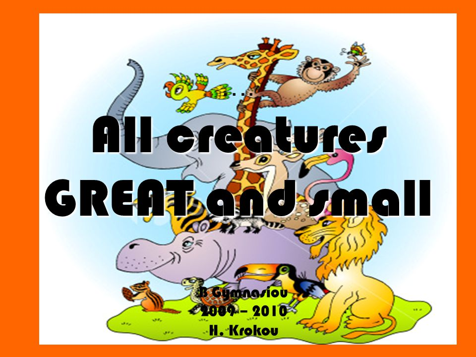 All creatures GREAT and small …. All creatures GREAT and small B Gymnasiou 2009 – 2010 H. Krokou