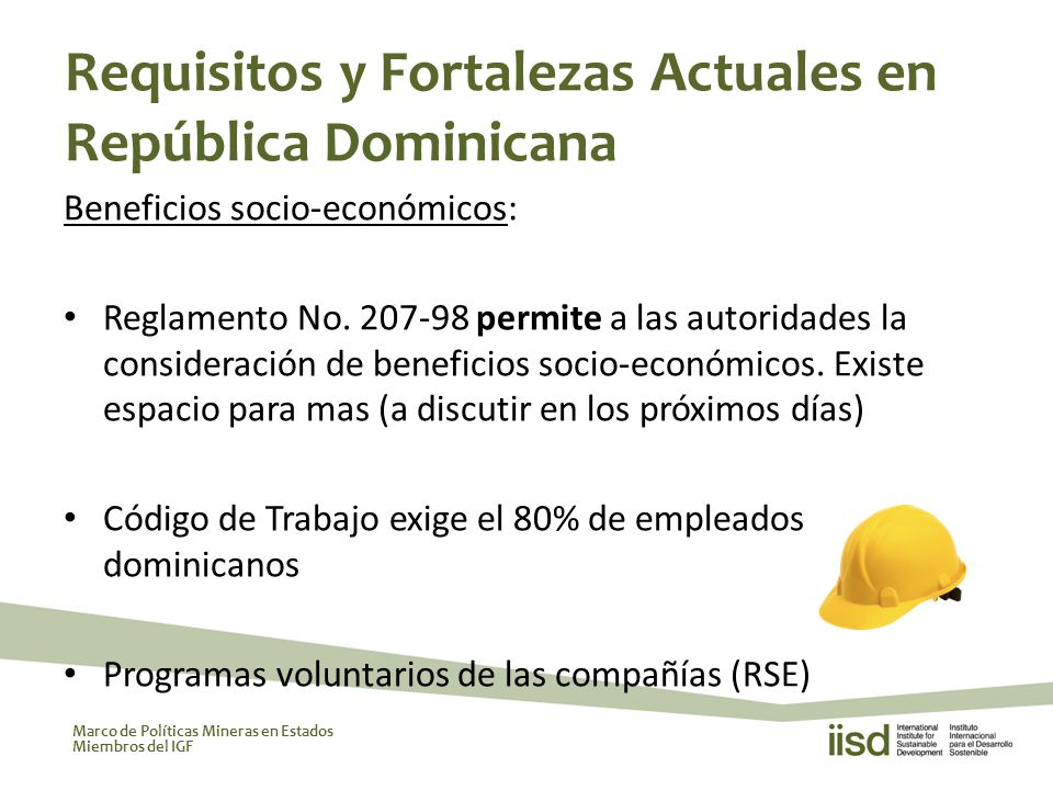 Marco de Políticas Mineras en Estados Miembros del IGF Beneficios socio-económicos: Reglamento No.