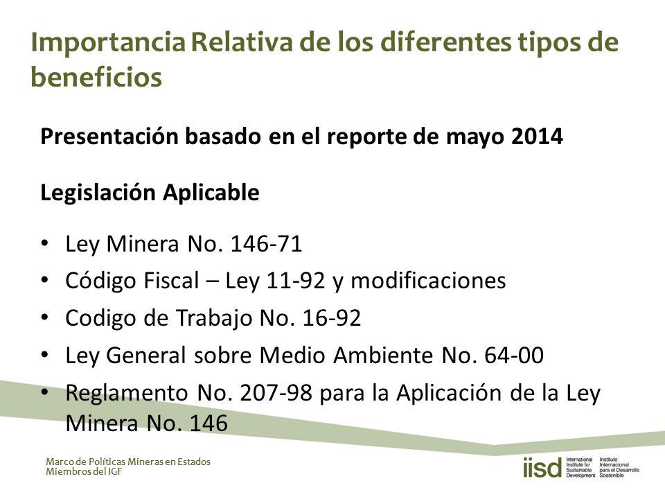 Marco de Políticas Mineras en Estados Miembros del IGF Presentación basado en el reporte de mayo 2014 Legislación Aplicable Ley Minera No.