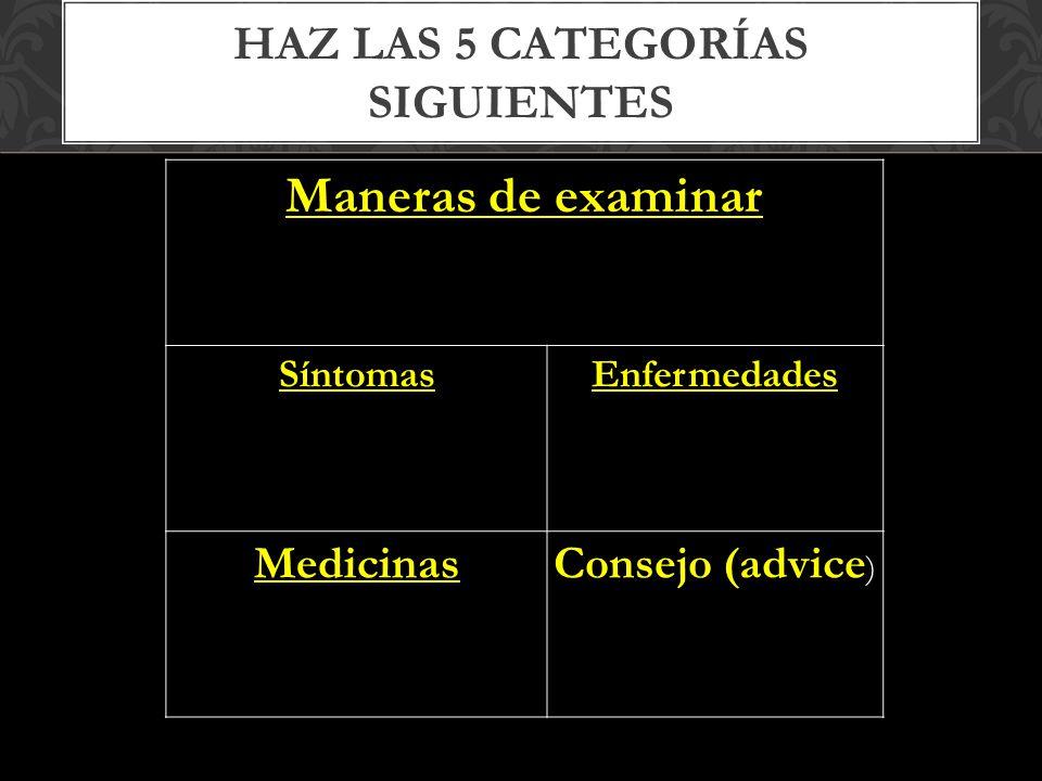 HAZ LAS 5 CATEGORÍAS SIGUIENTES Maneras de examinar SíntomasEnfermedades MedicinasConsejo (advice )