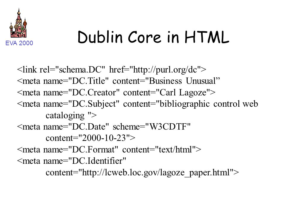 EVA 2000 Dublin Core in HTML <meta name=