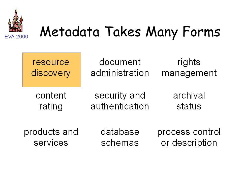 EVA 2000 Metadata Takes Many Forms