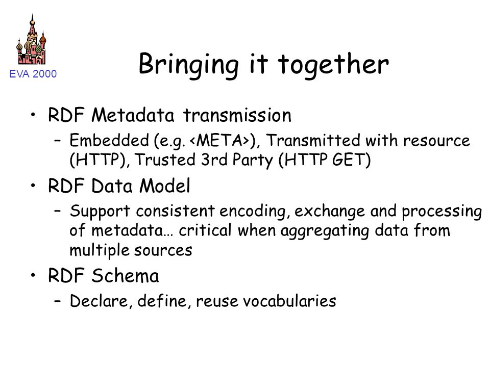 EVA 2000 Bringing it together RDF Metadata transmission –Embedded (e.g. ), Transmitted with resource (HTTP), Trusted 3rd Party (HTTP GET) RDF Data Mod