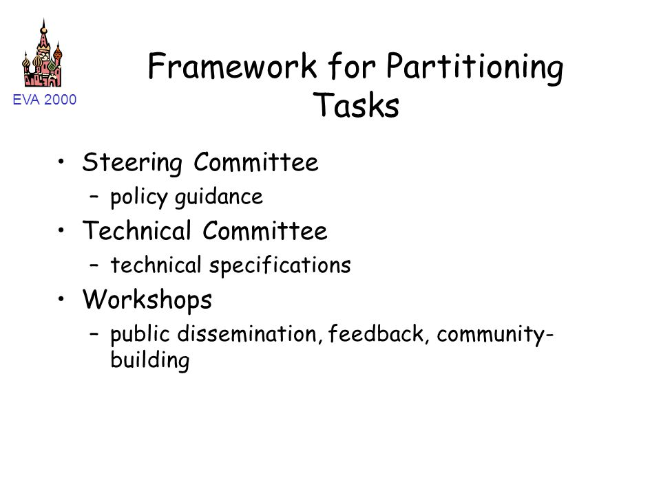 EVA 2000 Framework for Partitioning Tasks Steering Committee –policy guidance Technical Committee –technical specifications Workshops –public dissemination, feedback, community- building
