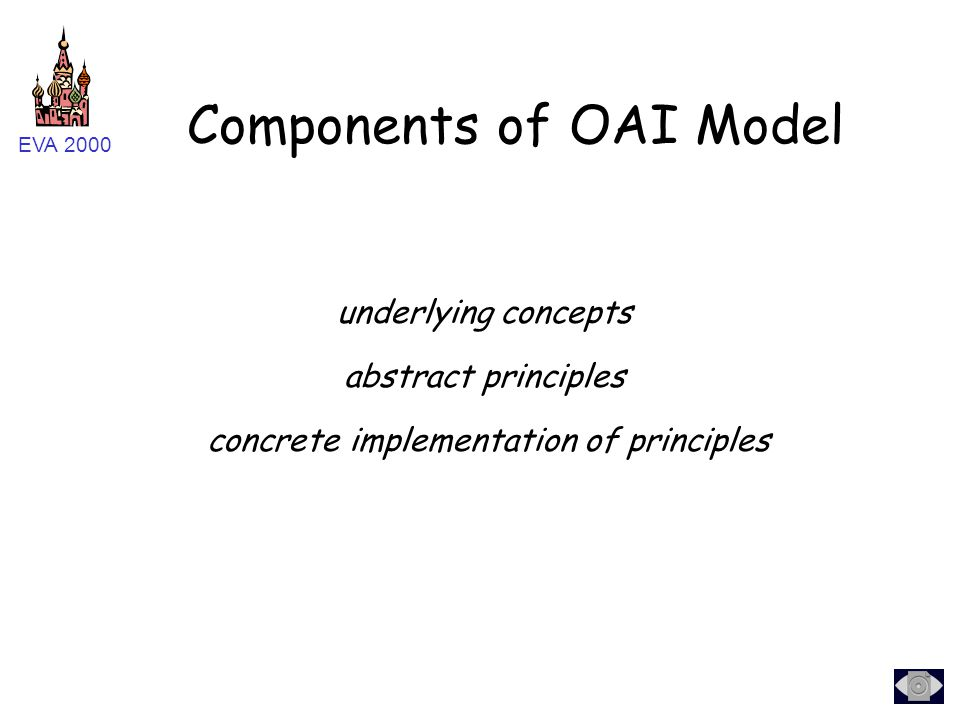 EVA 2000 underlying concepts abstract principles concrete implementation of principles Components of OAI Model