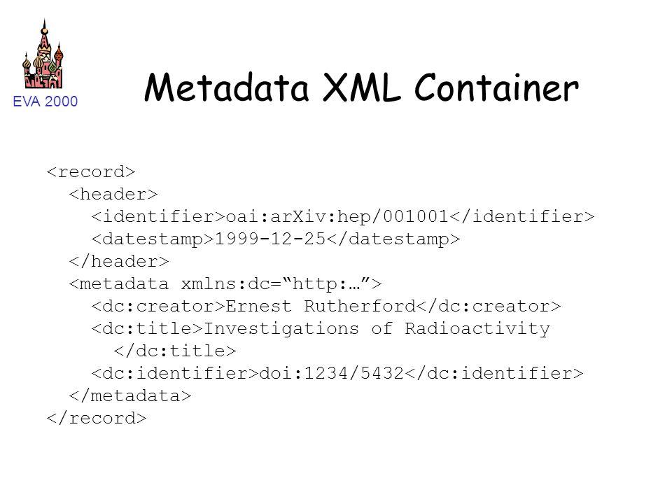EVA 2000 Metadata XML Container oai:arXiv:hep/001001 1999-12-25 Ernest Rutherford Investigations of Radioactivity doi:1234/5432