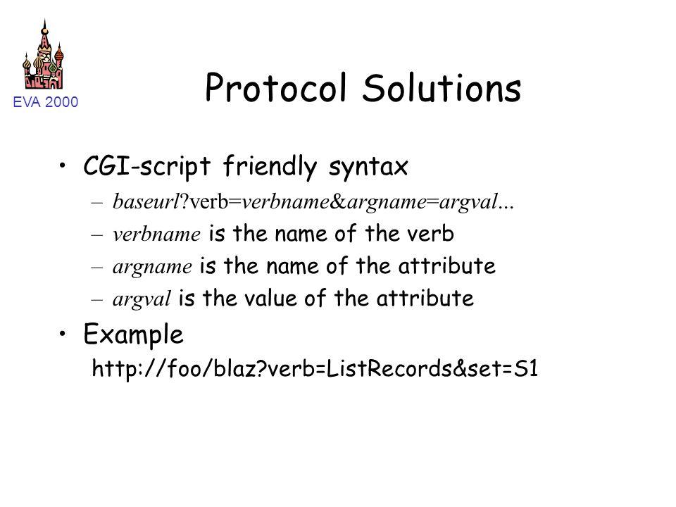EVA 2000 Protocol Solutions CGI-script friendly syntax –baseurl?verb=verbname&argname=argval... –verbname is the name of the verb –argname is the name