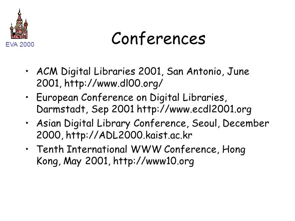 EVA 2000 Conferences ACM Digital Libraries 2001, San Antonio, June 2001, http://www.dl00.org/ European Conference on Digital Libraries, Darmstadt, Sep