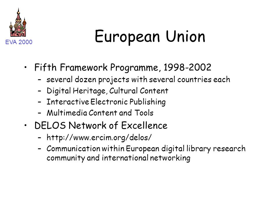EVA 2000 European Union Fifth Framework Programme, 1998-2002 –several dozen projects with several countries each –Digital Heritage, Cultural Content –
