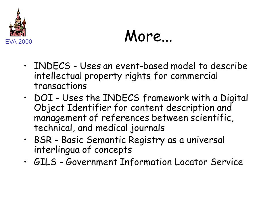 EVA 2000 More... INDECS - Uses an event-based model to describe intellectual property rights for commercial transactions DOI - Uses the INDECS framewo