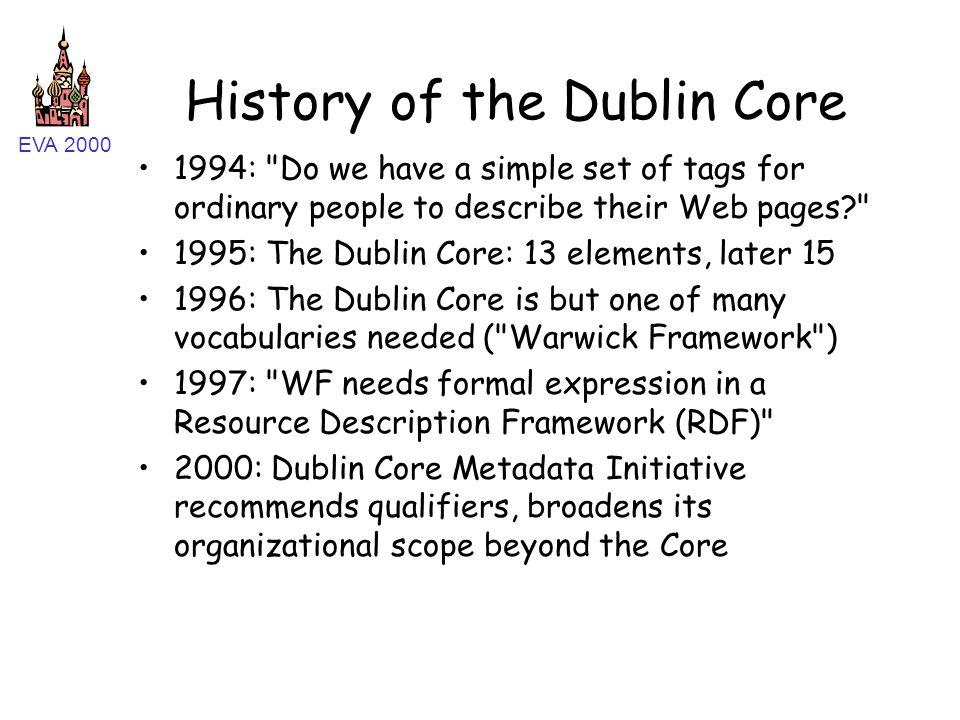 EVA 2000 History of the Dublin Core 1994: