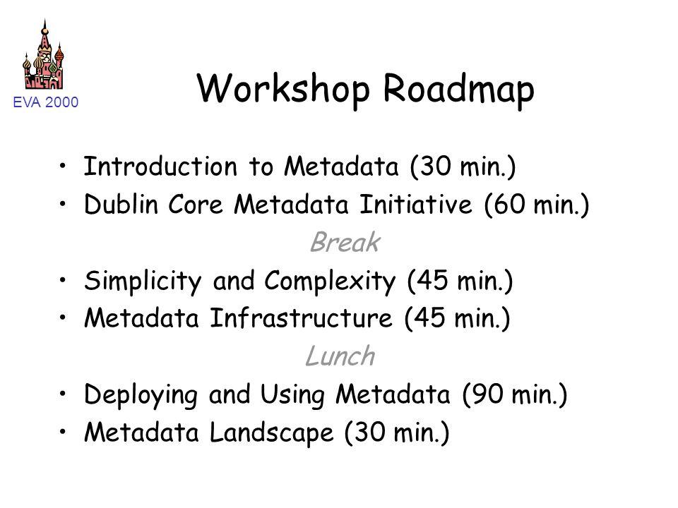 EVA 2000 Workshop Roadmap Introduction to Metadata (30 min.) Dublin Core Metadata Initiative (60 min.) Break Simplicity and Complexity (45 min.) Metad