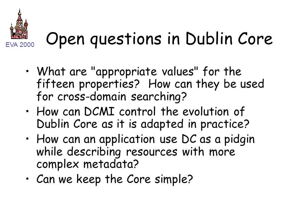 EVA 2000 Open questions in Dublin Core What are