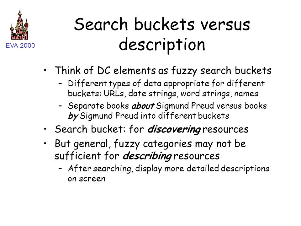 EVA 2000 Search buckets versus description Think of DC elements as fuzzy search buckets –Different types of data appropriate for different buckets: URLs, date strings, word strings, names –Separate books about Sigmund Freud versus books by Sigmund Freud into different buckets Search bucket: for discovering resources But general, fuzzy categories may not be sufficient for describing resources –After searching, display more detailed descriptions on screen