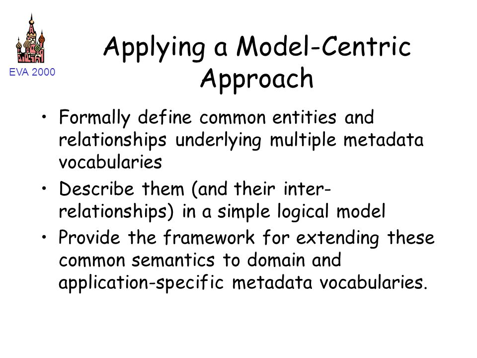 EVA 2000 Applying a Model-Centric Approach Formally define common entities and relationships underlying multiple metadata vocabularies Describe them (and their inter- relationships) in a simple logical model Provide the framework for extending these common semantics to domain and application-specific metadata vocabularies.