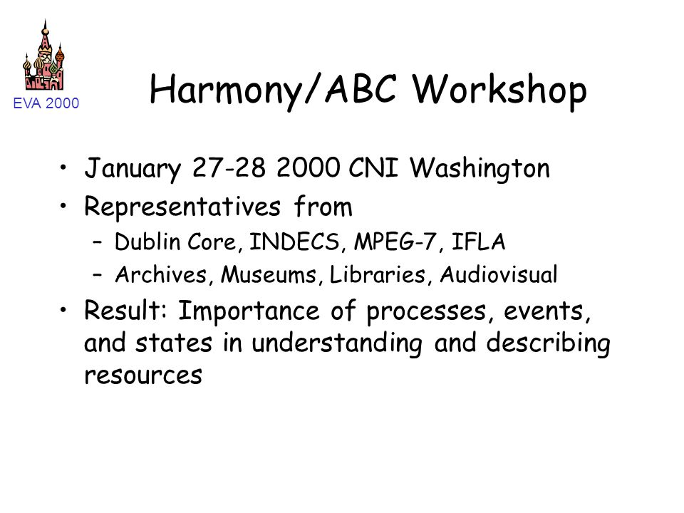 EVA 2000 Harmony/ABC Workshop January 27-28 2000 CNI Washington Representatives from –Dublin Core, INDECS, MPEG-7, IFLA –Archives, Museums, Libraries, Audiovisual Result: Importance of processes, events, and states in understanding and describing resources