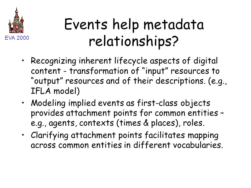 """EVA 2000 Events help metadata relationships? Recognizing inherent lifecycle aspects of digital content - transformation of """"input"""" resources to """"outpu"""