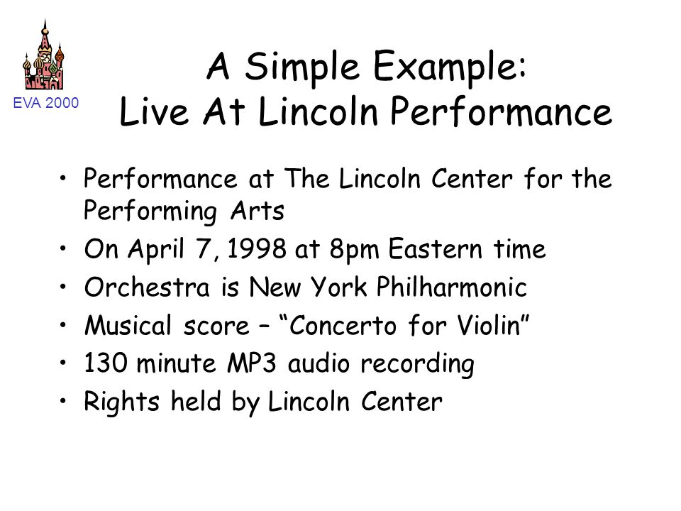 EVA 2000 A Simple Example: Live At Lincoln Performance Performance at The Lincoln Center for the Performing Arts On April 7, 1998 at 8pm Eastern time